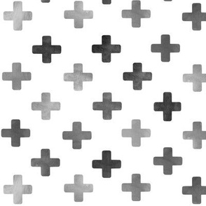 Swiss Cross Pattern - Grey on white
