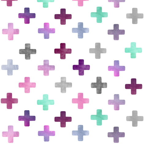 Swiss Cross Pattern - purple on white fabric by inspirationz on Spoonflower - custom fabric