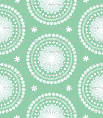 Bandana* (Green Stamps)    pastel scarf handkerchief stars starburst circles flowers fireworks geometric western mandala