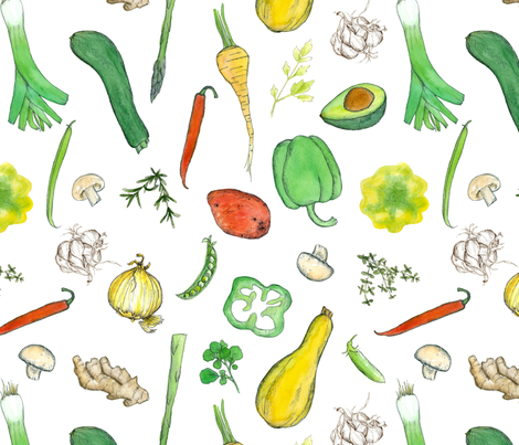 Fresh Veggies  fabric by countrygarden on Spoonflower - custom fabric