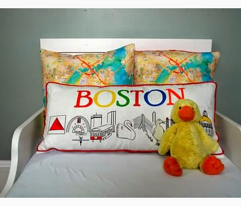 Boston watercolor map fabric