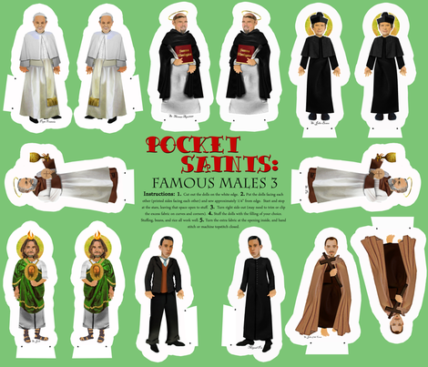 Cut and Sew Saints Dolls famous male saints 3 fabric by magneticcatholic on Spoonflower - custom fabric