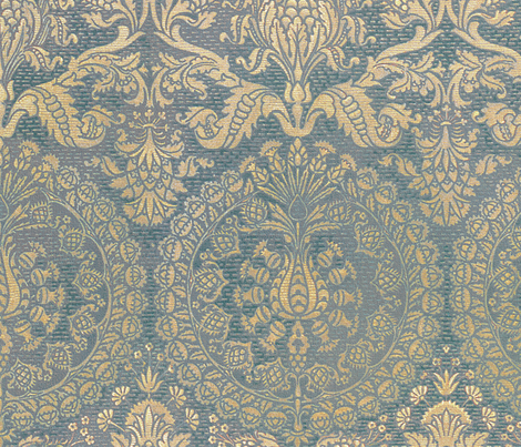 Catherine of Aragon ~ Provencal Blue and Gold ~ Extra Large  fabric by peacoquettedesigns on Spoonflower - custom fabric