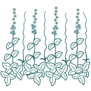 Herb border -12 inch - dkgreenblue-pattern-on-white
