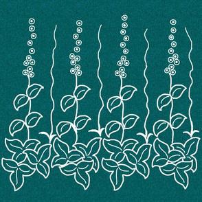 Herb border -12 inch - white-lines-dkgreenblue-pattern