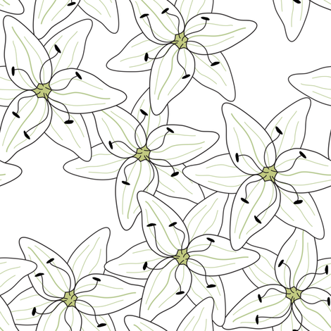 White Lilies (smaller) fabric by johannak on Spoonflower - custom fabric