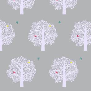 Tree of life-teal bird-grey