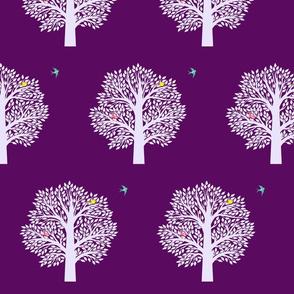 Tree of life-teal bird-eggplant