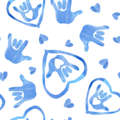 ASL I Love You Signs in Bluebell