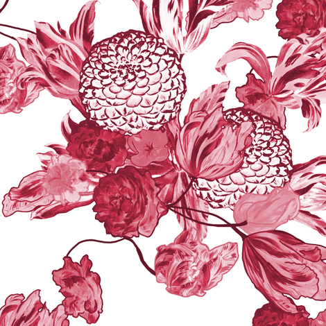 Mid Century Floral ~ Claret fabric by peacoquettedesigns on Spoonflower - custom fabric