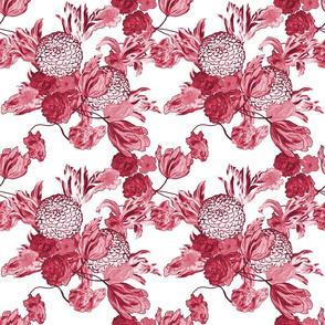 Mid Century Floral ~ Claret