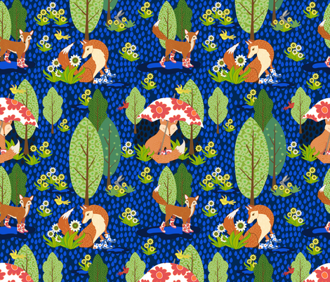 Evening Foxes in Galoshes fabric by shellypenko on Spoonflower - custom fabric