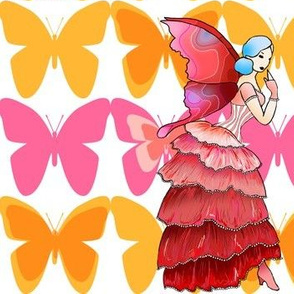 Tropical hibiscus fairy with butterflies
