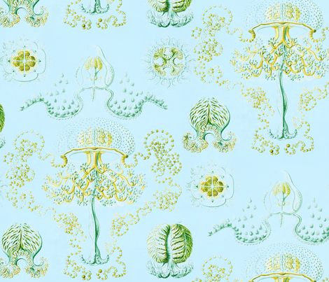 Jellyfish in Hazy Yellow and Aqua fabric by willowlanetextiles on Spoonflower - custom fabric