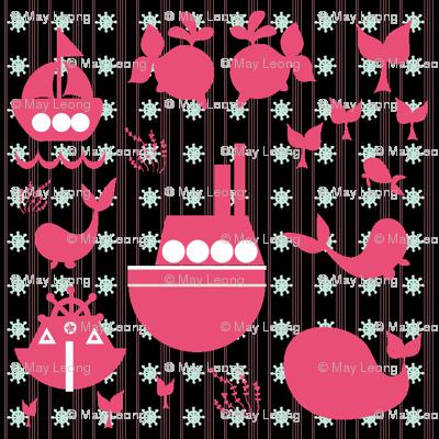 Whale & Ship Pattern