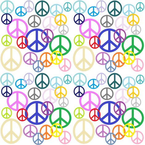 Peace Sign Collage fabric by lorileidig on Spoonflower - custom fabric