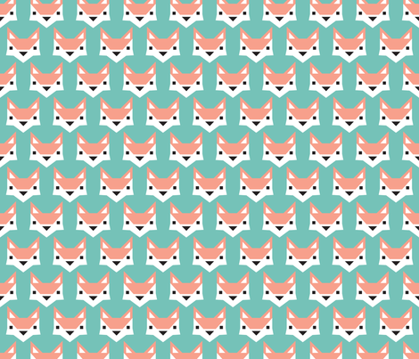Geometric fox illustration fabric by littlesmilemakers on Spoonflower - custom fabric