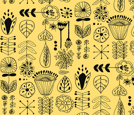 hand drawn flowers yellow and black fabric by mattieanne on Spoonflower - custom fabric