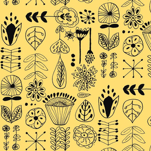 hand drawn flowers yellow and black