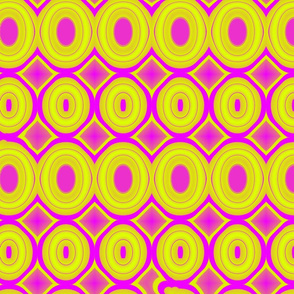 Large Scale Hot Pink and Chartreuse Ovals_21x18