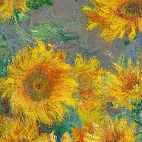 monet's sunflowers (jumbo) fabric by weavingmajor on Spoonflower - custom fabric