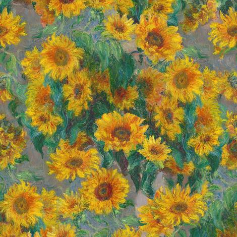 monet's sunflowers (small) fabric by weavingmajor on Spoonflower - custom fabric