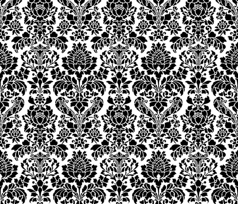 Balmoral Damask ~ Black and White fabric by peacoquettedesigns on Spoonflower - custom fabric