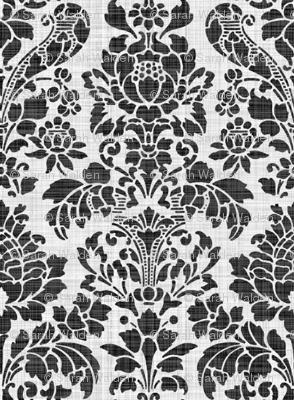 Balmoral Damask ~ Linen Luxe ~ White on Black