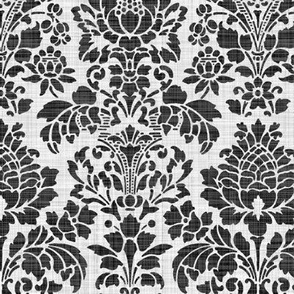 Balmoral Damask ~ Linen Luxe ~ White on Black