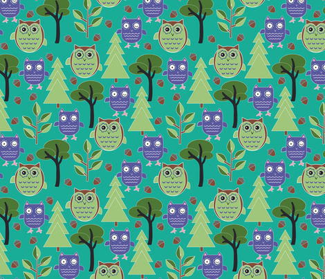 Woodlands_winking owl fabric by woolfolkdesignstudio on Spoonflower - custom fabric