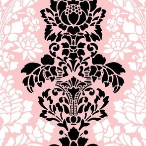 Balmoral Damask ~ Black and White on Dauphine