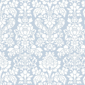 Balmoral Damask ~ White on Versailles Fog