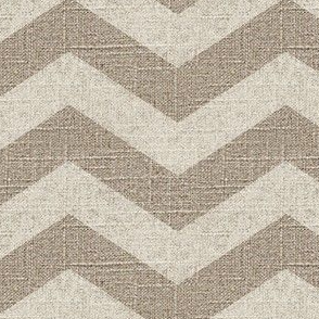 Large Chevron in Cream on Linen