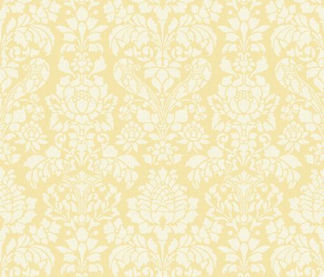 Balmoral Damask ~ Linen Luxe ~ White on Trianon Cream fabric by peacoquettedesigns on Spoonflower - custom fabric