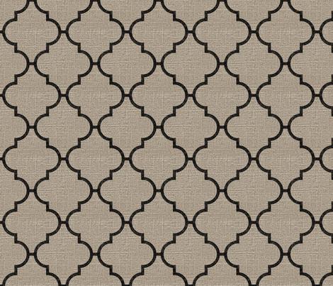 Large Moroccan Tile in Black on Linen fabric by jolenebalyeatdesigns on Spoonflower - custom fabric