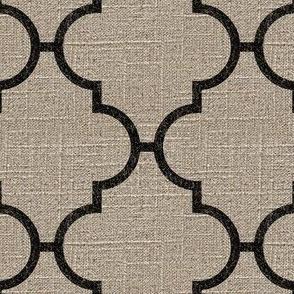 Large Moroccan Tile in Black on Linen