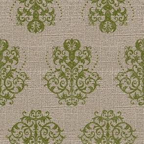 Damask in Moss on Linen
