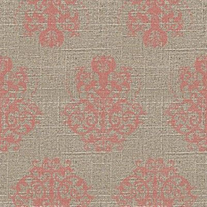 Damask in Pink on Linen
