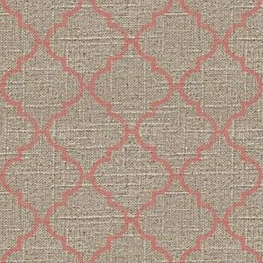 Moroccan Tile in Pink on Linen