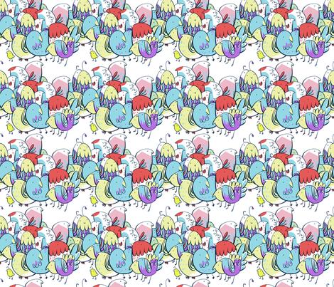Techno Chickens fabric by inky_blue_studio on Spoonflower - custom fabric