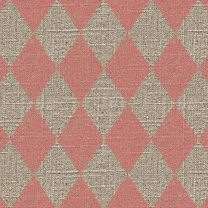 Large Diamonds in Pink on Linen