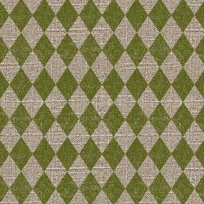Diamonds in Moss on Linen