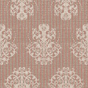Damask Ticking in Pink