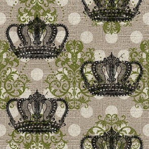 Crowned Damask N' Dots