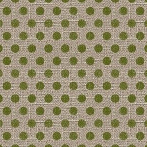 Dots in Moss on Linen