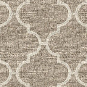 Large Moroccan Tile in Cream on Linen