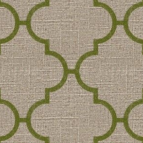 Large Moroccan Tile in Moss on Linen