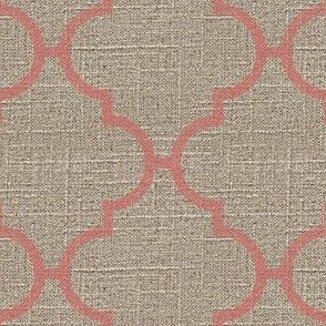Large Moroccan Tile in Pink on Linen