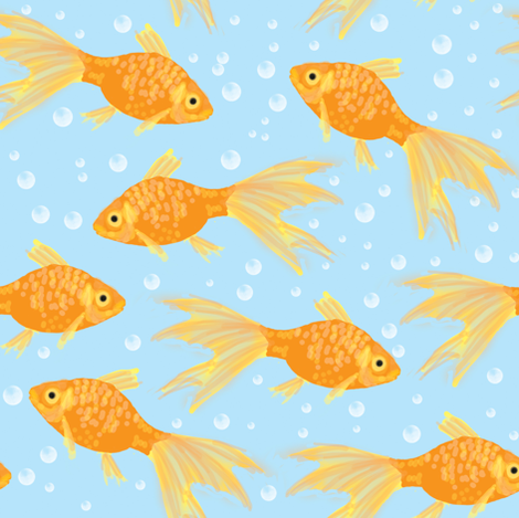 Goldfish and Bubbles fabric by amy_hadden on Spoonflower - custom fabric