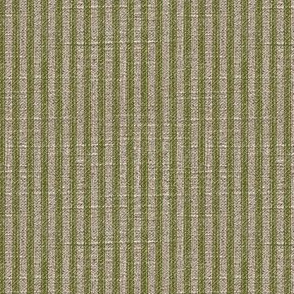 Ticking in Moss on Linen